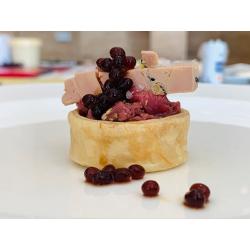 Perle di Balsamico foie gras e tartar di anatra